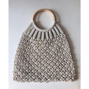 Bags - Macrame handbag wooden handle white